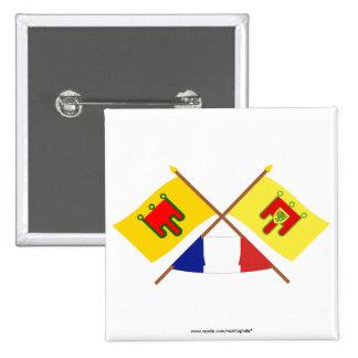 Banderas cruzadas de Auvergne y del Puy-de-dôme Pin