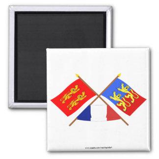 Banderas cruzadas de Basse-Normandie y de la Imán Cuadrado
