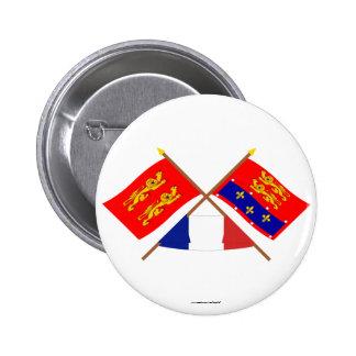 Banderas cruzadas de Basse-Normandie y de Orne Pins