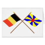 Banderas cruzadas de Bélgica y de Flandes Occident Felicitación