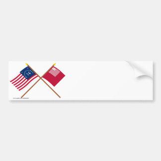 Banderas cruzadas de Bennington y de Brandywine Pegatina De Parachoque