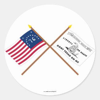 Banderas cruzadas de Bennington y de Culpeper Pegatina Redonda