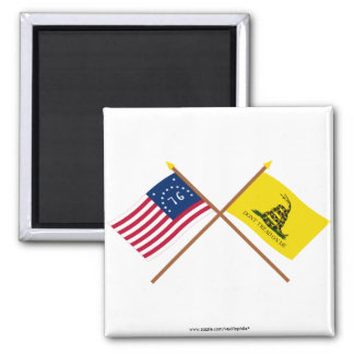 Banderas cruzadas de Bennington y de Gadsden Imán Cuadrado