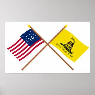 Banderas cruzadas de Bennington y de Gadsden Póster