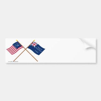 Banderas cruzadas de Bennington y de George Rex Pegatina De Parachoque