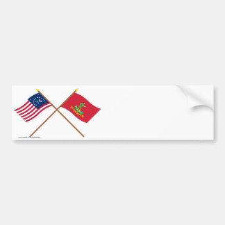 Banderas cruzadas de Bennington y de Hannover Asso Etiqueta De Parachoque