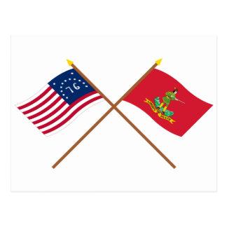 Banderas cruzadas de Bennington y de Hannover Asso Tarjeta Postal