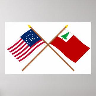 Banderas cruzadas de Bennington y de Nueva Póster