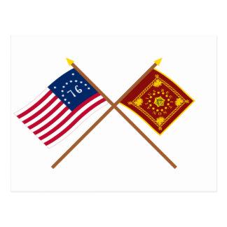 Banderas cruzadas de Bennington y de Pulaski Postal