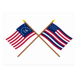Banderas cruzadas de Bennington y de Serapis Postales