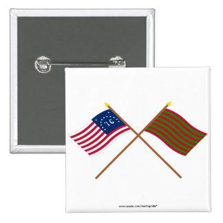 Banderas cruzadas de Bennington y del pie Sackvill Pins