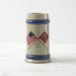 Banderas cruzadas de Betsy Ross y de Bedford Taza De Café