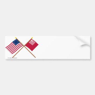 Banderas cruzadas de Betsy Ross y de Brandywine Etiqueta De Parachoque