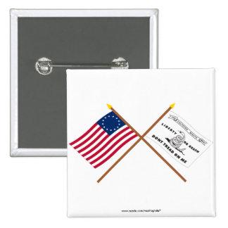 Banderas cruzadas de Betsy Ross y de Culpeper Pin Cuadrado