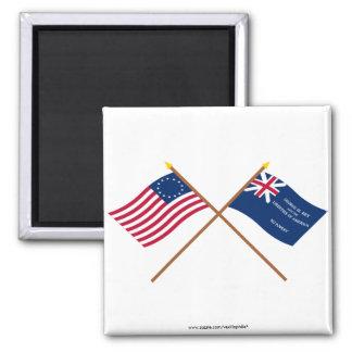 Banderas cruzadas de Betsy Ross y de George Rex Imán Para Frigorífico