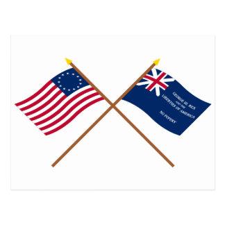 Banderas cruzadas de Betsy Ross y de George Rex Postal