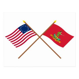 Banderas cruzadas de Betsy Ross y de Hannover Asso Postal