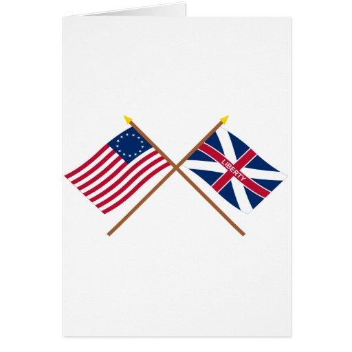 Banderas cruzadas de Betsy Ross y de Johnson del f Tarjeton