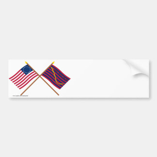 Banderas cruzadas de Betsy Ross y de la marina de  Etiqueta De Parachoque