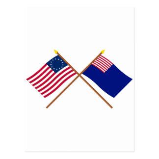 Banderas cruzadas de Betsy Ross y de la marina de Postales