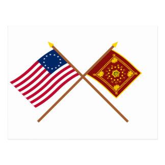 Banderas cruzadas de Betsy Ross y de Pulaski Postal