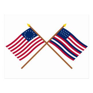 Banderas cruzadas de Betsy Ross y de Serapis Postales