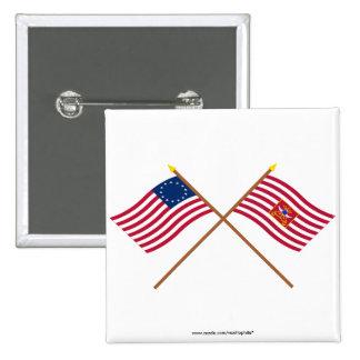 Banderas cruzadas de Betsy Ross y del caballo de S Pin