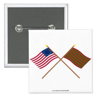 Banderas cruzadas de Betsy Ross y del pie Sackvill Pins