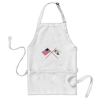 Banderas cruzadas de Betsy Ross y del salvavidas d Delantal