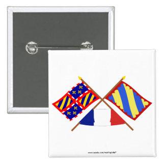 Banderas cruzadas de Borgoña y de Nièvre Pin