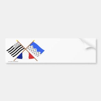Banderas cruzadas de Bretaña y de Côtes-d Armor Pegatina De Parachoque