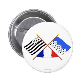 Banderas cruzadas de Bretaña y de Côtes-d'Armor Pin