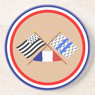 Banderas cruzadas de Bretaña y del Ille-et-Vilaine Posavasos Manualidades