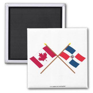 Banderas cruzadas de Canadá y de la República Domi Iman De Frigorífico
