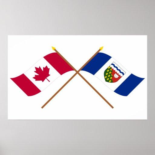 Banderas cruzadas de Canadá y de los territorios d Póster