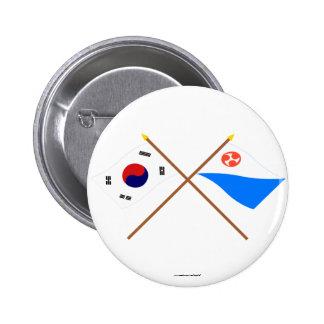 Banderas cruzadas de Corea y de Jeju-Do Pin Redondo 5 Cm