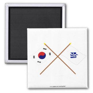 Banderas cruzadas de Corea y de Pusan (variante) Imán Cuadrado
