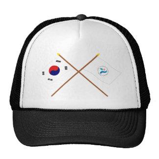 Banderas cruzadas de Corea y de Seul Gorras