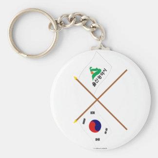 Banderas cruzadas de Corea y de Ulsan Llavero Redondo Tipo Pin
