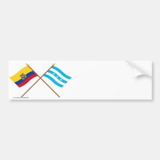 Banderas cruzadas de Ecuador y de Guayas Pegatina Para Auto