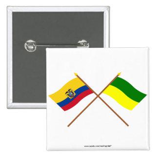 Banderas cruzadas de Ecuador y de Morona-Santiago Pin Cuadrada 5 Cm