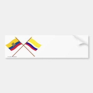 Banderas cruzadas de Ecuador y de Napo Pegatina Para Auto