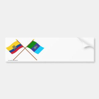 Banderas cruzadas de Ecuador y de Santa Elena Pegatina Para Auto