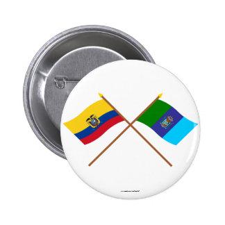 Banderas cruzadas de Ecuador y de Santa Elena Pin
