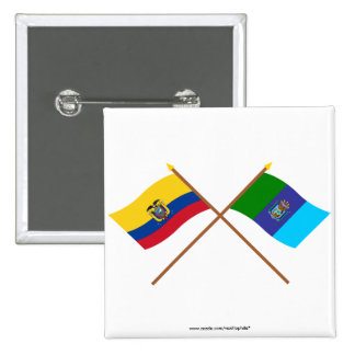 Banderas cruzadas de Ecuador y de Santa Elena Pins