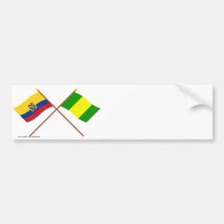 Banderas cruzadas de Ecuador y del EL Oro Pegatina Para Auto