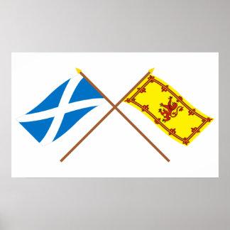 Banderas cruzadas de Escocia Poster
