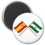 Banderas cruzadas de España y de Andalucía Imán Redondo 5 Cm