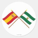 Banderas cruzadas de España y de Andalucía Pegatina Redonda