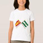 Banderas cruzadas de España y de Andalucía Playera